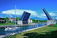 sailboat, drawbridge, Charlevoix, Round Lake, tourist, photography, fine art prints, Mike Barton