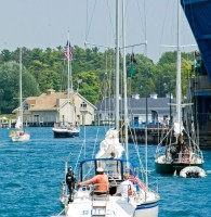 sailboats, drawbridge, Charlevoix, Round Lake, photography, fine art prints, Mike Barton