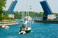 boats, drawbridge, Charlevoix, Round Lake, photography, fine art prints, Mike Barton