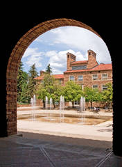 Dalton Trumbo Fountain, University Memorial Center's, photo, CU Boulder, university of Colorado boulder campus, mike bar