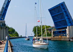 sailboat, drawbridge, Charlevoix, Round Lake, photography, fine art prints, Mike Barton