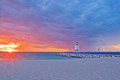Sunset, photo, Charlevoix, Lighthouse, Lake Michigan, lightening, summer, photography, fine art prints, Mike Barton