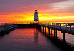 Charlevoix, lighthouse, south pier, sunsets, fine art prints, photography, Mike Barton.