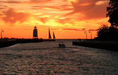 Photo, charter, sailboat, Great lake, Charlevoix, lighthouse, pier, sunsets, fine art prints, photography, Mike Barton