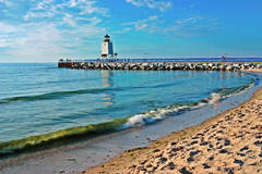 Photo, Lake Michigan Beach, summer, Charlevoix, lighthouse, south pier, sunsets, fine art print, photograph, Mike Barton