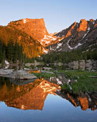 Dream Lake, sunrise, Rocky Mountain National Park, Bear Lake, reflection, photo, Hallett Peak, Continental Divide.