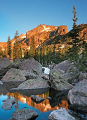 Lake Haiyaha, sunrise, Rocky Mountain National Park, Bear Lake, reflection, photo, Hallett Peak, Continental Divide.