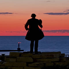 Sunset, silhouettes, waterfront, Chief Petosegay, Petoskey, Michigan, photography, prints, Mike Barton, Little Traverse