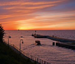 Sunset, Pine River, Lake Michigan, Charlevoix, photograph, prints, Mike Barton