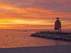 Photo, Lake Michigan, summer, Charlevoix, lighthouse, south pier, sunsets, fine art prints, photography, Mike Barton.