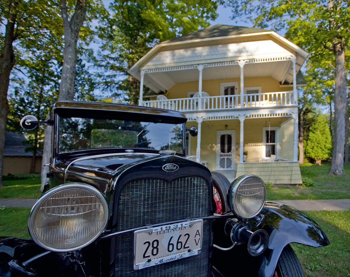 Model A Ford, cottages, Bay View, photography, prints, Mike Barton, photo