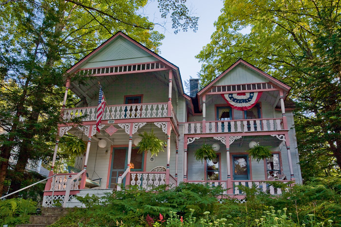 Perched high on a ridge, this 1887 Bay View cottage is a popular subject for artists and photographers.
