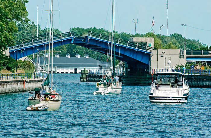 Boats, drawbridge, Charlevoix, Round Lake, photography, fine art prints, Mike Barton, photo