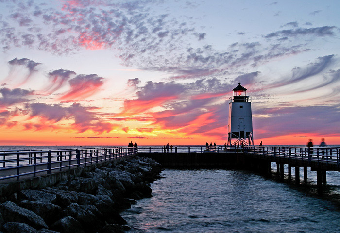 Sunset, photo, Charlevoix, Lighthouse, summer, storm, photography, fine art prints, Mike Barton