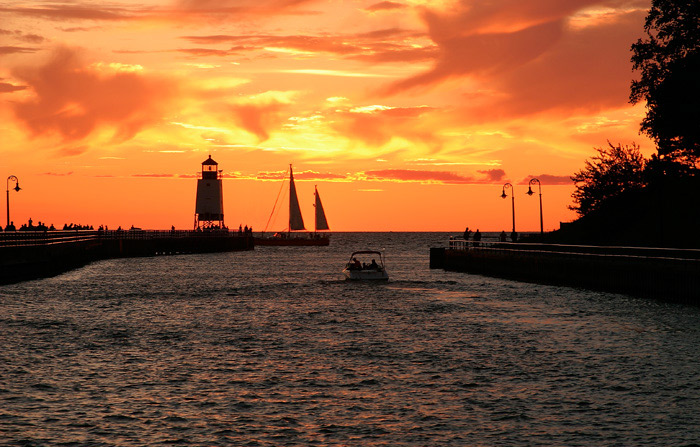 Photo, charter, sailboat, Great lake, Charlevoix, lighthouse, pier, sunsets, fine art prints, photography, Mike Barton, photo