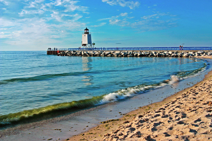 Photo, Lake Michigan Beach, summer, Charlevoix, lighthouse, south pier, sunsets, fine art print, photograph, Mike Barton, photo