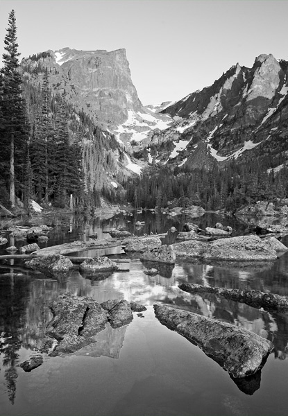 Photo, Dream Lake, Rocky Mountain National Park, Bear Lake, mountain, peak, Hallett Peak, photograph, Mike Barton, photo