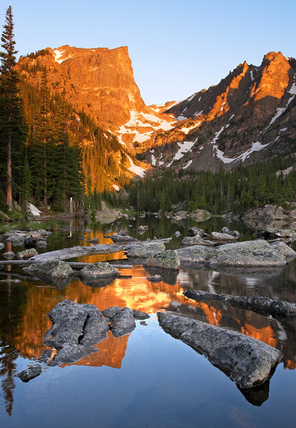 Dream Lake, sunrise, Rocky Mountain National Park, Bear Lake, reflection, photo, Hallett Peak, Continental Divide.  , photo