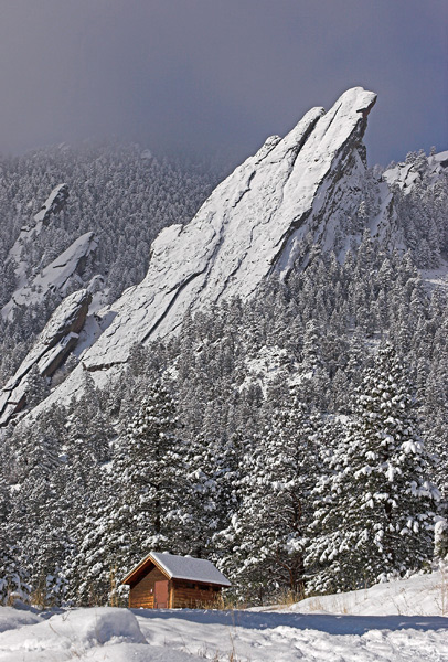 This shot was taken after a heavy snow storm. Located at the base of the Flatiron Mountains, Chautauqua Park offers paradise...