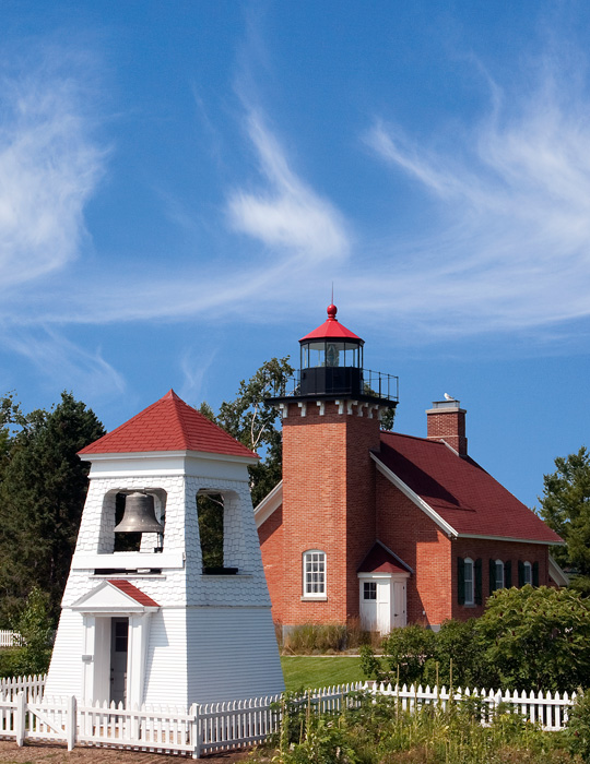Little Traverse Lighthouse, Harbor Point, fog bell tower, Harbor Springs, Michigan, photography, prints, Mike Barton, photo