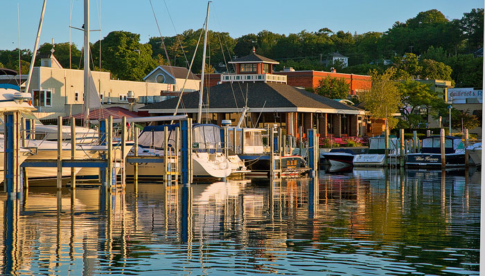 Stafford's Pier Restaurant, harbor, boathouse, Pointer Boat, Harbor Springs, Michigan, photography, prints, Mike Barton, photo