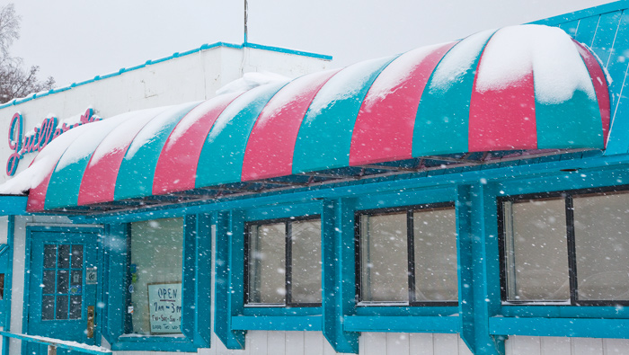 When you see this colorful awning, you know you have arrived in Charlevoix.