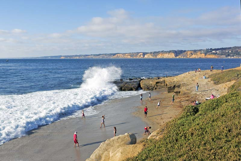 The beach below Scripps Park is just a short walk down from the heart of the village.