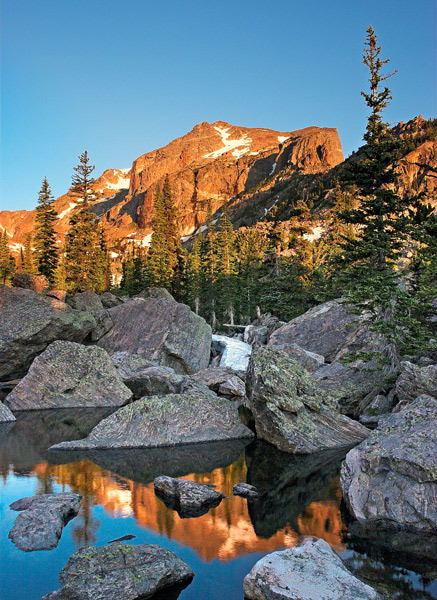 Lake Haiyaha, sunrise, Rocky Mountain National Park, Bear Lake, reflection, photo, Hallett Peak, Continental Divide.  , photo