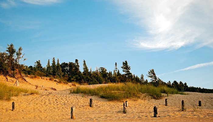 Sand dunes along Petoskey State Park on the east shore of Little Traverse Bay.