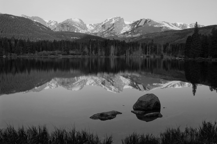 Sprague Lake at dawn in the eastern portion of Rocky Mountain National Park. This shallow lake sits at an elevation of 8,200...
