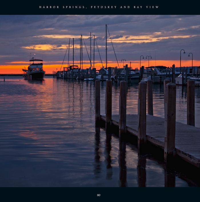 Sunset at the Petoskey marina on a warm and calm August evening along Little Traverse Bay