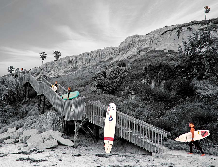 One of the six stairways to the beach from the San Elijo State Campground.