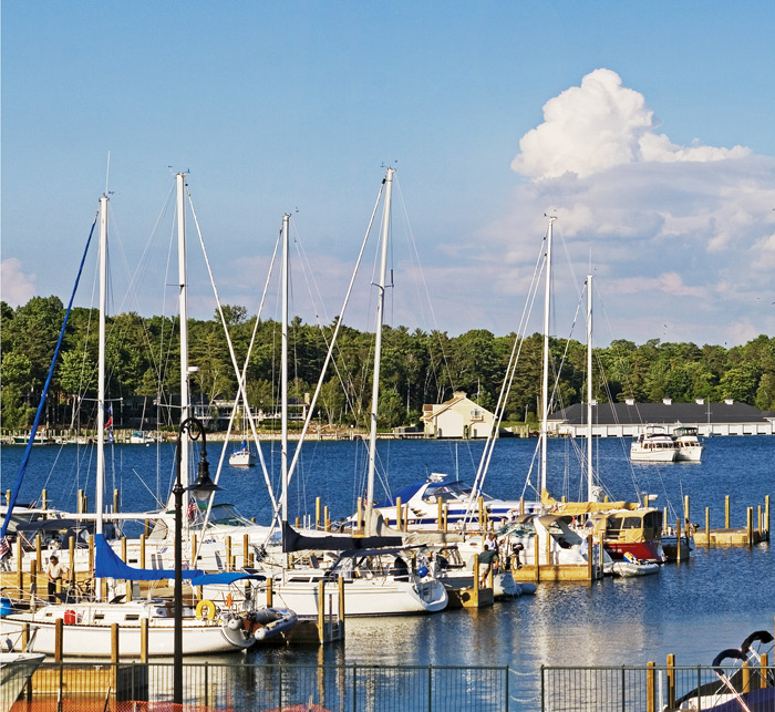 Bridge Street, Charlevoix, Round Lake, harbor, marina, yachts, sailboat, photography, fine art prints, Mike Barton, photo