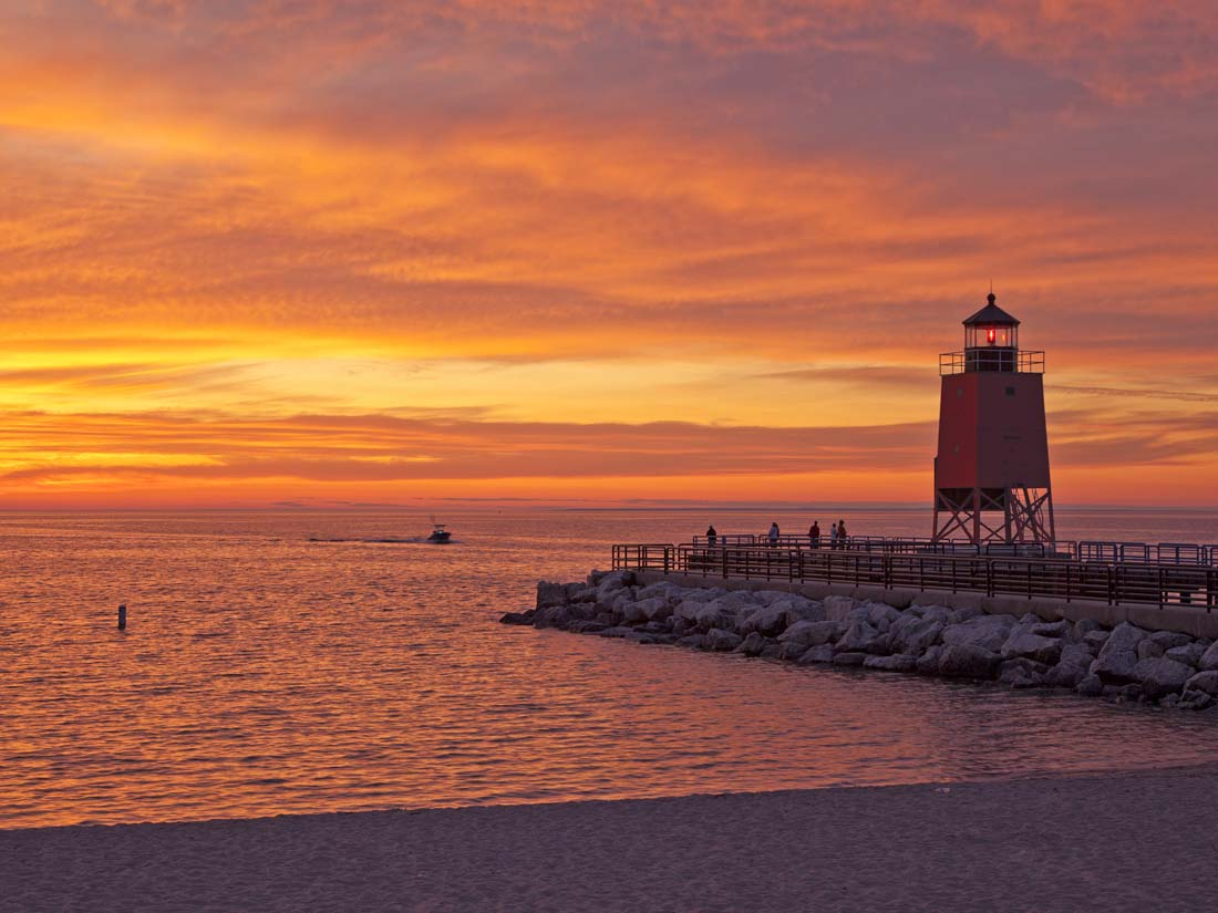 Photo, Lake Michigan, summer, Charlevoix, lighthouse, south pier, sunsets, fine art prints, photography, Mike Barton., photo